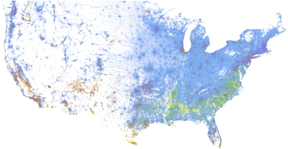Us Racial Dot Map A Strangely Beautiful Map of Race in America   Bloomberg