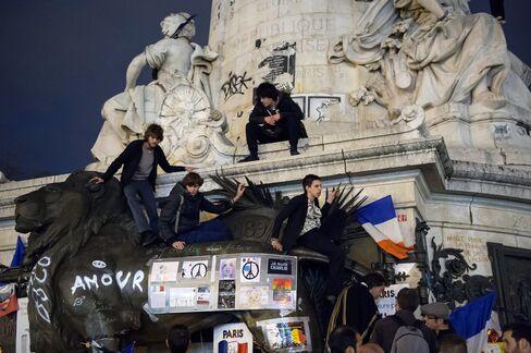 Demonstrators at Place de la Republique