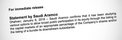 An excerpt of the news release issued by Saudi Aramco.