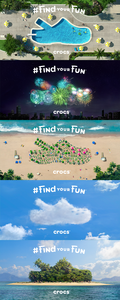 Five of Crocs' new digital ads, which hope to renew focus on the company's classic clog silhouette.