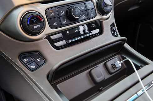 The Denali has multiple USB and power outlets, with upgraded entertainment and an 8-inch center touchscreen.