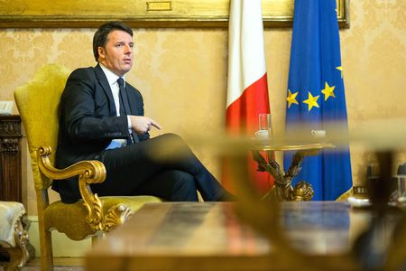 Matteo Renzi speaks during an interview at Chigi palace in Rome, Italy, on Feb. 8, 2016.