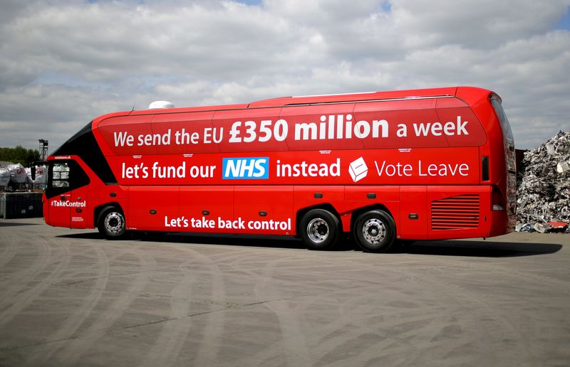 The Vote Leave campaign bus in May 2016.