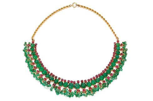 14 Karat Gold, Emerald, and Ruby Necklace
