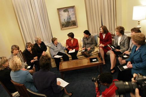 Women senators (seated in circle from left to right) Sen Susan Collins (R-Maine) Sen Mary Landrieu (D-LA); Sen Hillary Clinton (D-NY) Sen Lisa Murkowski (R-Alaska); Sen Barbara Boxer (D-California) Sen Patty Murray (D- Washington) Sen Barbara Mikulski (D-MD) Incoming Sen Amy Klobuchar(D-Minn) Sen Olympia Snowe R-Maine); Sen Maria Cantwell (D-Wash) Sen Elizabeth Dole (R-NC) Sen Blanche Lincoln (D-Ark) and Sen Debbie Stabenow (D-Mich) in Sen Mikulski's office at the US Capitol Washington, D.C. , Tuesday,November 14, 2006. Photographer:David Scull/BloombergNews