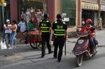 Police officers patrolling in Kashgar, in China's western Xinjiang.
