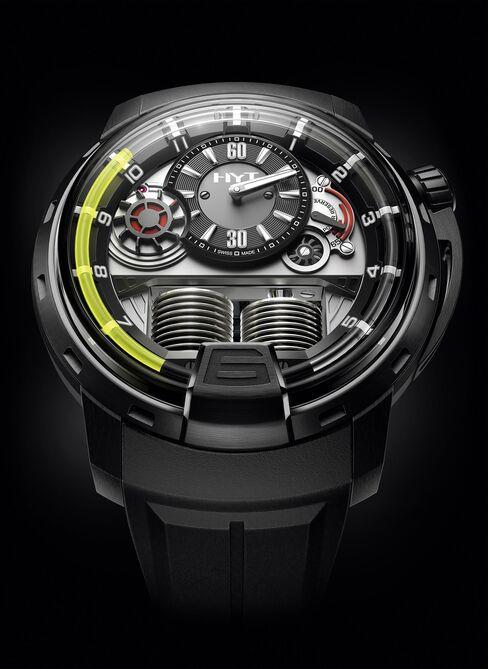 The HYT H1 Titanium Black DLC watch which won the 2012 prize