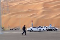 A worker leaves Aramco's Natural Gas Liquids plant in Saudi Arabia's remote Empty Quarter, near the United Arab Emirates,on May 10, 2016.
