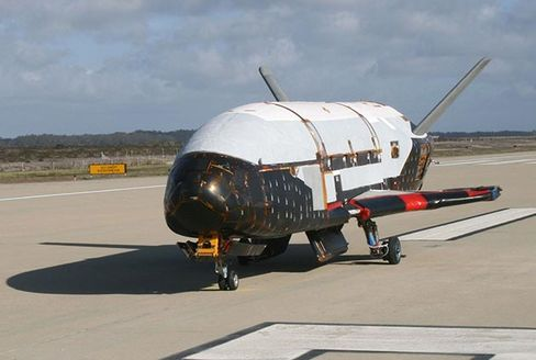 In a testing procedure, the X-37B Orbital Test Vehicle taxis on the flightline in June 2009 at Vandenberg AFB, Calif.