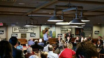 Walker speaks to Iowa Republicans in suburban Des Moines on April 25.