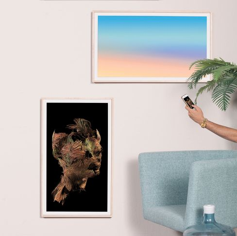 From top: Eric Cahan,Mood: Sunrise Horizon; Universal Everything,Portrait. These artworks come with the frame; toggle through—or buy more—using the app.