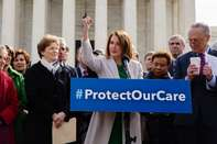 House And Senate Democrats Gather At Supreme Court To Protest Cuts To Health Care