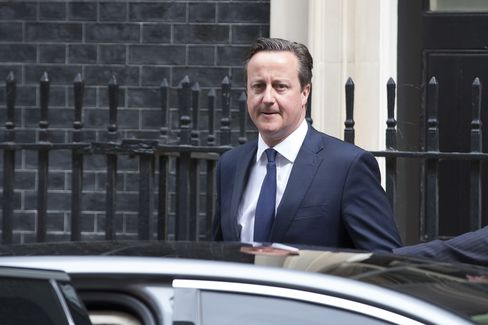 Prime Minister David Cameron leaves 10 Downing Street in London. Photographer: Jason Alden/Bloomberg