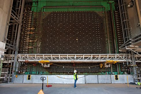The face of the K-East reactor core. The grid in the middle is a series of aluminum tubes that once held uranium fuel rods