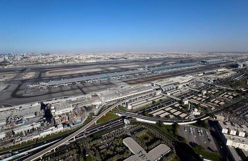 The runways and passenger terminals of Dubai International Airport.