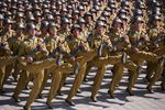 TOPSHOT - Korean People's Army (KPA) soldiers march during a mass rally on Kim Il Sung square in Pyongyang on September 9, 2018.