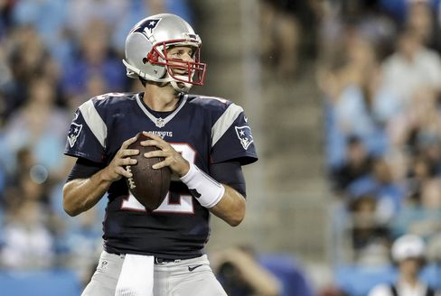 Tom Brady, No. 12 of the New England Patriots, during their game at Bank of America Stadium on Aug. 26, 2016 in Charlotte, N.C.