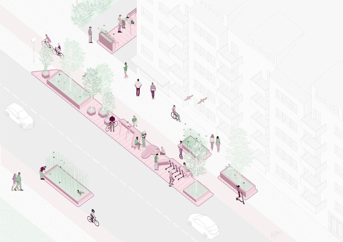 Un & quot; dopo & quot;  rendering per il progetto Street Moves in Svezia