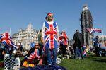 Pro-Brexit demonstrators onParliament Square, March 29.