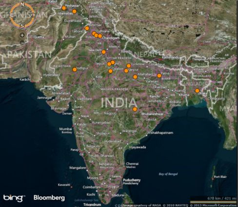Ribbon of 17 polluted Indo-Gangetic cities. Sources: NASA, World Health Organization.