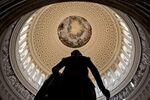 A statue of George Washington stands in the U.S. Capitol Rotunda in Washington, D.C., U.S..