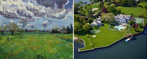 Left: Vincent van Gogh, Paysage sous un ciel mouvementé, 1889. Right: A mansion for sale on Long Island Sound in Connecticut, reportedly Trump's first residence after marrying Ivana.