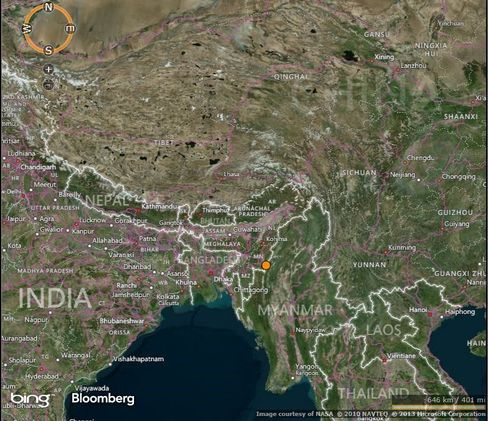 Numaligarh Refinery is looking to build a pipeline through Tamu (shown by the dot) on the India-Myanmar border.