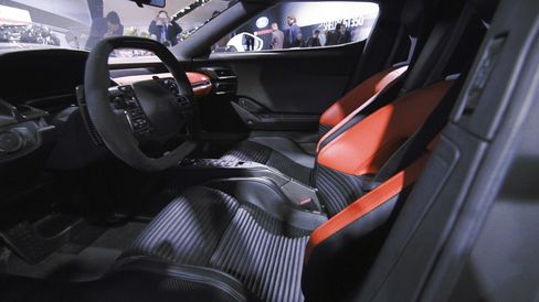 Interiors of the 2017 Ford GTthat's on displayat the 2016 Detroit Auto Show.
