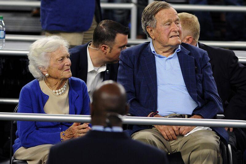 former president george h w bush wife barbara hospitalized