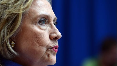 Former Secretary of StateHillary Clinton takes questions from reporters following a town hall meeting on Aug. 10, 2015, in Exeter, New Hampshire.