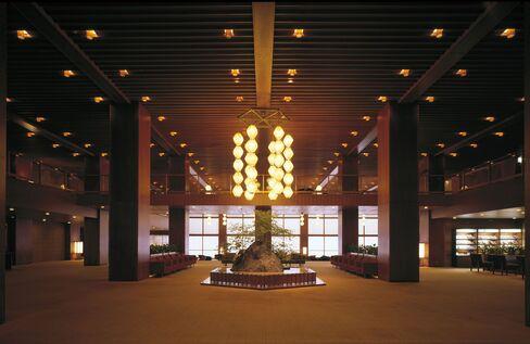 The main lobby of Hotel Okura Tokyo in Tokyo, Japan.