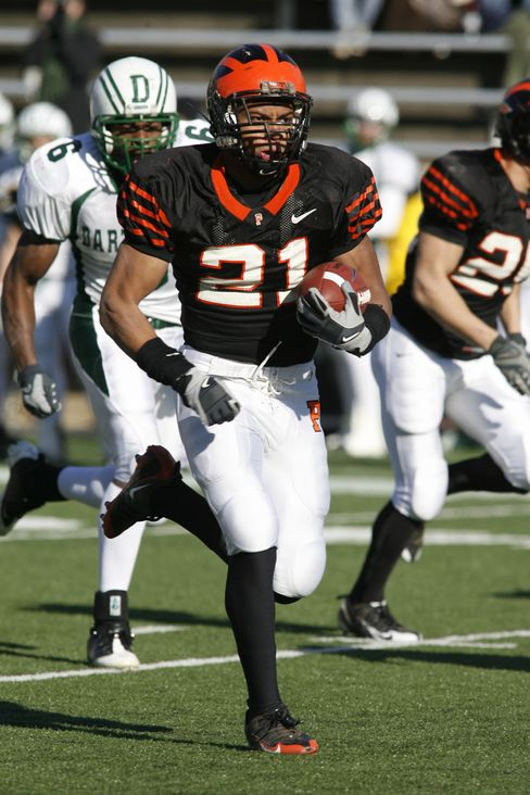 Jordan Culbreath rushes against Dartmouth in 2008