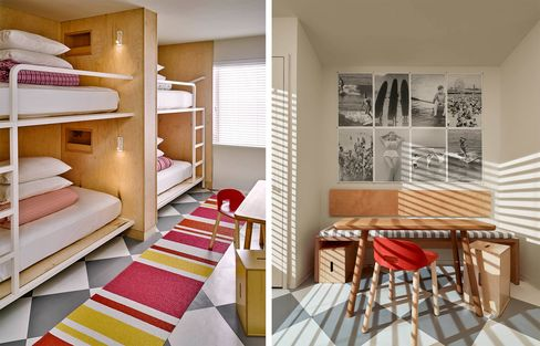 A bedroom and living quarters at the Asbury.