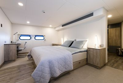 Accommodations on a support yacht