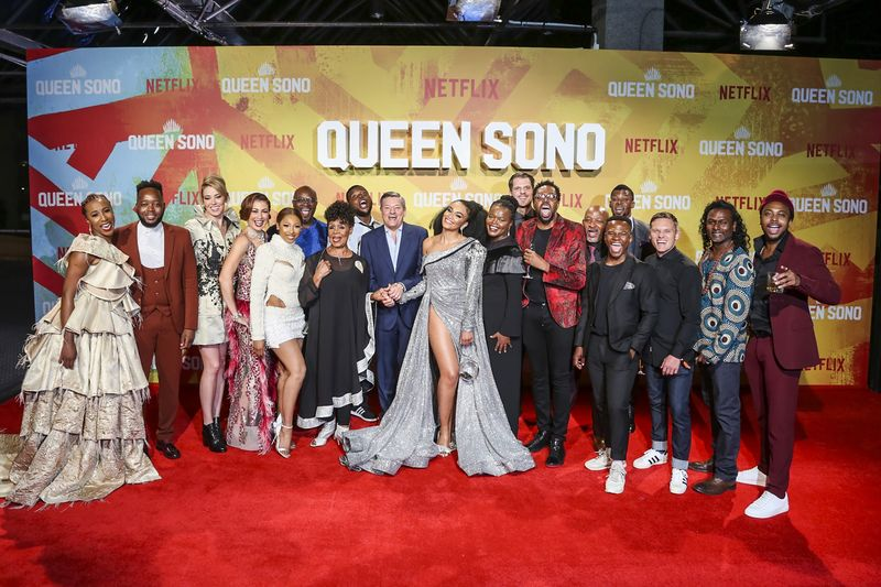 Netflix's Queen Sono cast on the red carpet for the Johannesburg premiere.