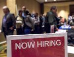 Job seekers at the San Jose Career Fair in San Jose, California, on Tuesday, Nov. 10, 2015.