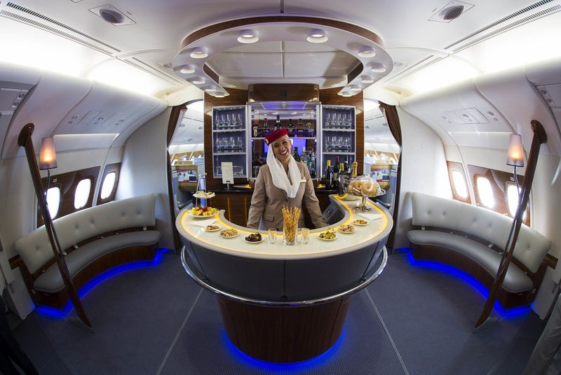 The Business Class Bar Inside Emirates Airline Airbus A380