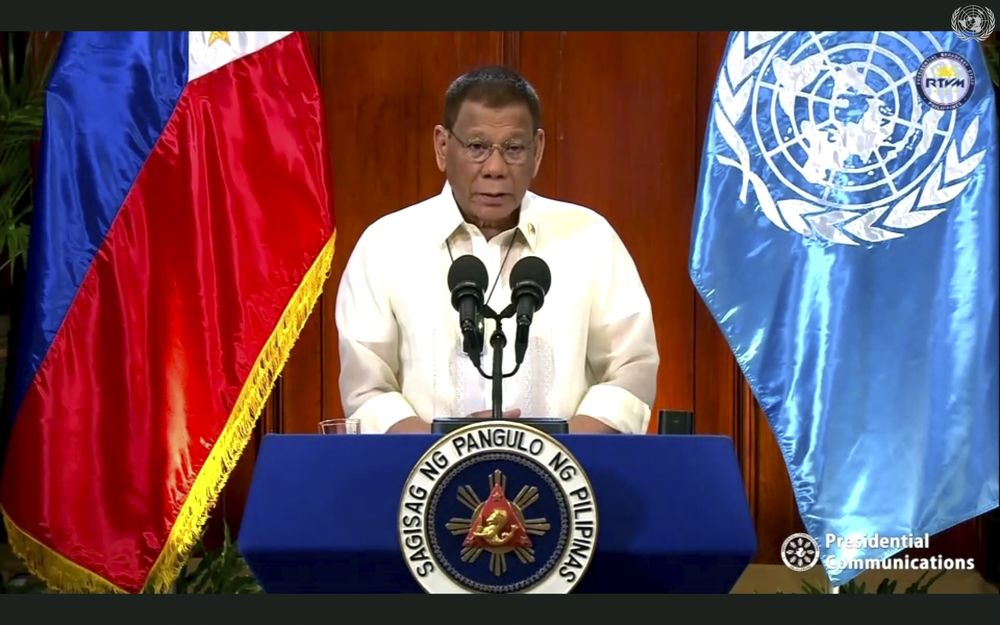Rodrigo Duterte speaks in a pre-recorded message which was played during the 75th session of the United Nations General Assembly on Sept. 22.