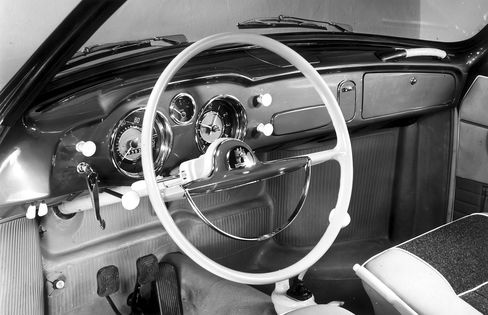 The interior had high-quality materials like wood-grain, leather, and steel.