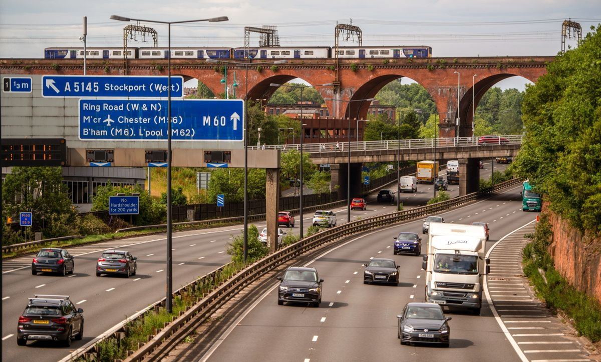 Traffic travels along the M60 motorway in the U.K., where a pilot project will soon be dropping speed limits.
