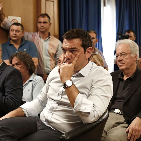 Alexis Tsipras during a visit to the Ministry of Agriculture in Athens.