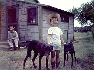 A 5-year-old Bezos at his grandfather's ranch in Cotulla, Tex.