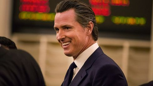 Gavin Newsom, lieutenant governor of California, arrives at the State Capitol in Sacramento, California, U.S., on Monday, Jan. 5, 2015.