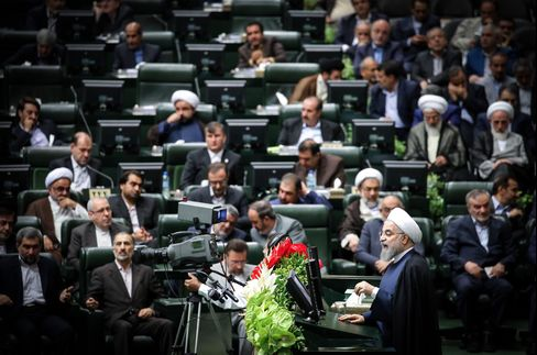 Hassan Rouhani delivers a speech on May 28.