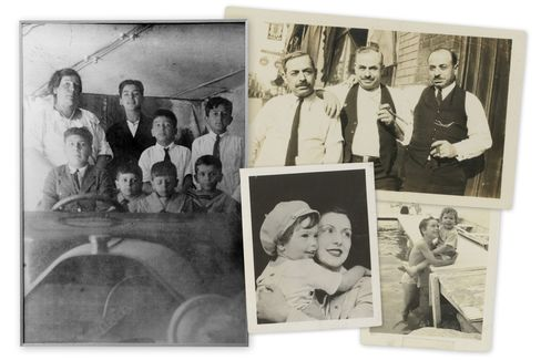 Clockwise from top left: Francis Ford Coppola's grandmother Maria Zasa Coppola with her seven sons; Coppola's grandfather Agostino (center) with his brothers Michele and Emmanuele; Coppola with his older brother August, who went on to become an author, professor and film director (and whose son is Nicolas Cage); Coppola and his mother Italia.