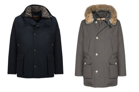 Woolrich John Rich & Bros. Mackinaw Parka (left) and Arctic Parka DF (right). Also check out anything in Woorich's iconic red and black Buffalo-check, such asits scarves and railroad vests.