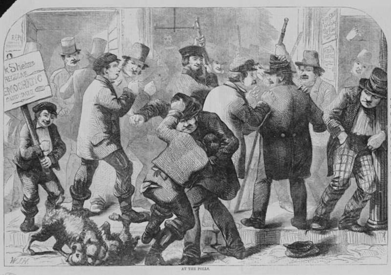 Drunken brawling at the polls, as depicted in Harper's Weekly, 1857.