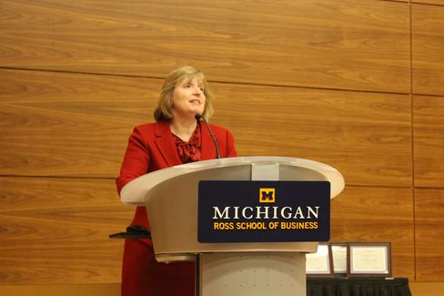 Alison Blake-Davis, dean of the Michigan Ross School of Business, speaks at an event on campus in 2014.