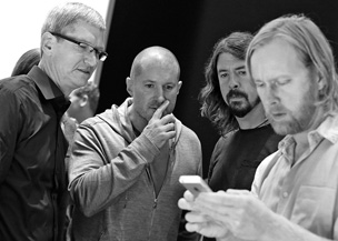 Cook, Ive, and Foo Fighter Dave Grohl at the iPhone 5 launch on Sept. 12