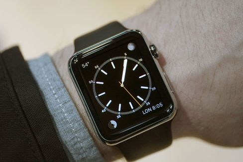 The 42mm Apple Watch on the wrist.